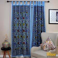 Out of Stock lemon yellow Handmade 100% Cotton Sunflower Floral Tab Top  Curtain Drape Door Panel Navy Blue Gray Yellow