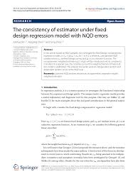 Fixed Research Design The Consistency Of Estimator Under Fixed Design Regression