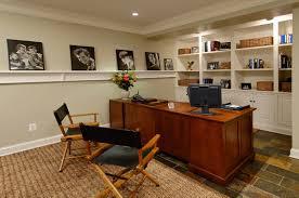 Custom home office design Desk Cream Wall In Custom Home Office Designs With Built In Shelf And Four Artistic Pictures Also Wooden Table And Two Wooden Folding Chairs Over Floor Tile And Altaremera Office Cream Wall In Custom Home Office Designs With Built In Shelf