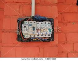 home fuse box stock images royalty images vectors singapore 2017 opened fuse box on the painted brick wall