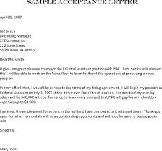 Employment Acceptance Letter 4 Job Acceptance Letter Free Download