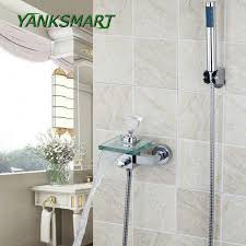 yanksmart bathtub shower waterfall glass spout diamond handle wall mounted bathroom bath handheld sprayer tap mixer faucet set