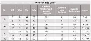 International Women S Size Chart Size Guide Clothing The Natural Bedding Company
