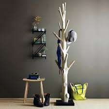 diy free standing coat rack tree with trunk wood material and freestanding  design style also gray