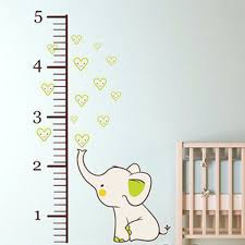 Small Picture Elephant Growth Chart Printed Fabric Repositionable Wall Decal