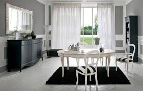 white dining table set. Awesome Black Fur Dining Room Rug Decoration Under White Table Set Including Vanity In R