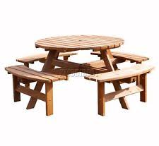 beer garden table. New 8 Seater Wooden Pub Bench Round Picnic Beer Table Furniture Brown Garden