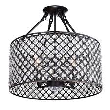 marya 4 light oil rubbed bronze round drum semi flush mount crystal chandelier
