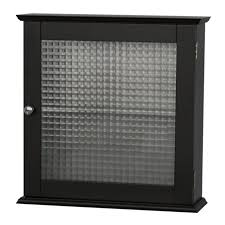 Cabinet With Frosted Glass Doors Black Hardwood Bathroom Wall Cabinet Which Decorated With Frosted