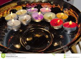 Rose Scented Tea Lights Golden Bowl With Floating Colourful Tea Light Candles Stock