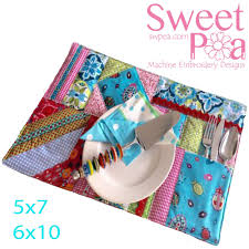 Sweet Pea Embroidery Designs Placemat Patchwork Pocket 5x7 6x10 Latest Embroidery