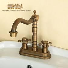 antique brass 4 inch centerset bathroom faucet lavatory vessel sink basin faucets mixer taps cold hot water tap vintage style