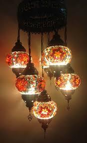 turkish handmade orange 7 ball mosaic chandelier 012