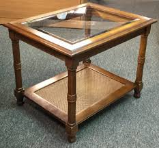 wooden end tables. Wooden End Table With Glass Insert And Storage Tables