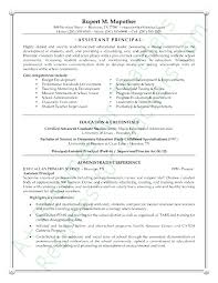 School Principal Resume Sample Entry Level Assistant Principal
