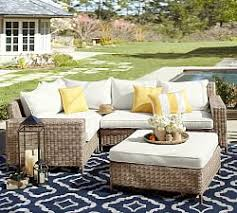 outdoor furniture wicker. Wonderful Furniture Natural Torrey AllWeather Wicker SquareArm Sectional Set For Outdoor Furniture O