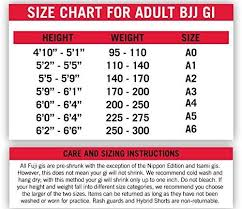 Atama Size Chart Fuji Brazilian Jiu Jitsu All Around Blue Bjj Gi A2