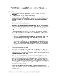 Word Processing Letterhead Format Instructions