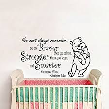 wall decals quotes winnie the pooh quote braver stronger smarter kids nursery baby room on baby room wall decor stickers with amazon wall decals quotes winnie the pooh quote braver
