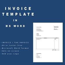 Microsoft Office Invoice Template Best Invoice Template Microsoft Word Tax Invoice A48 Size Etsy