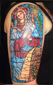virgin mary stained glass tattoo by ace