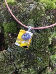 yellow glass pendant fused glass necklace brown leather cord square glass charm
