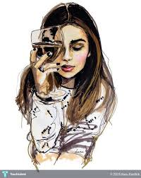 girl drinking wine in painting by karu karthik