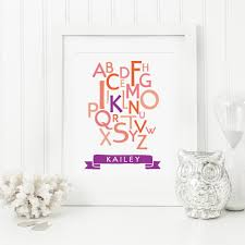baby alphabet art personalized nursery wall art print