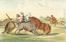 george catlin native american hunting buffalo on horseback