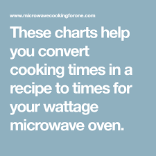 Microwave Wattage Chart These Charts Help You Convert Cooking Times In A Recipe To