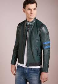 bo122t00q m11 dark green boss orange jaylo leather jacket mens
