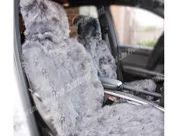 premium quality nz long wool sheepskin car seat cover grey