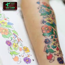 тату узоры цветные цветочки