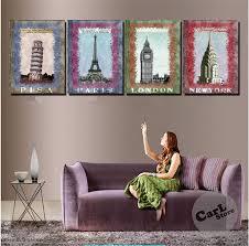 New York Living Room Aliexpresscom Buy 4 Piece Wall Art Canvas New York Paris London