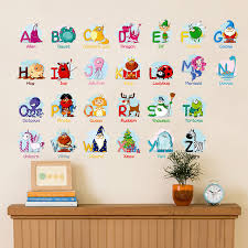creative puzzle early learning english letters wall stickers animals decals kids room decor nursery school diy removable