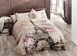 queen size quilt duvet cover set bedding made in turkey 100 turkish cotton 4 pcs ranforce paris eiffel tower theme themed full double