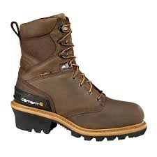 carhartt woodworks men s 08m brown leather waterproof composite safety toe 8 in work boot