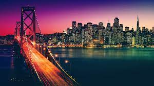 buildings, bridge, night, 4k, uhd ...