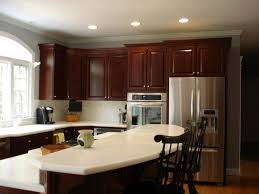 kitchen colors with cherry cabinets brown varnished wood kitchen cabinet yellow kitchen painting ideas ceiling lighting