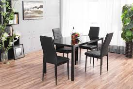 Designer Rectangle Black Glass Dining Table \u0026 4 Chairs Set ...