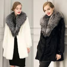 fashion new women faux rabbit fur coats with big imiation fox fur collar luxury fur lady