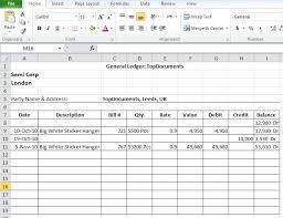 Ledger Example General Ledger Format In Excel Free Download