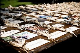 beautiful creative cards escort cards vs place cards trisha Rustic Wedding Place Card Ideas cards with a rustic feel are tied with wheat bunches rustic wedding place card holders