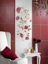 Plain Decorative Wall Tiles For Bathroom Floral Tile Designs Dark Red And Golden Perfect Design