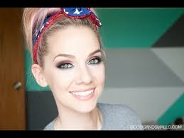 red white blue 4th of july makeup