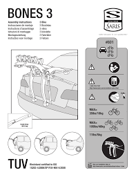 Saris Bones 3 3 Bike 801 User Manual 10 Pages