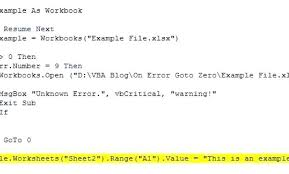 On Error Resume Vba Excel Vba On Error Goto Excel Vba On Error