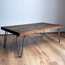 hairpin leg coffee table diy handmade chunky solid wood coffee table with bare steel hairpin legs dark wood finish style an industrial chic vintage retro