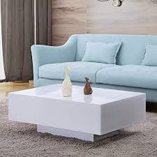 Modern coffee tables white Oval Image Unavailable Amazoncom Amazoncom Mecor High Gloss White Rectangle Coffee Table Modern