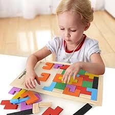 Game Played With Wooden Blocks Amazon Tetris Kids Childrens Wise Disk Building Blocks Wooden 65